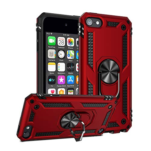 ULAK iPod Touch 7 Case, iPod Touch 6 Case, Hybrid Rugged Shockproof Cover with Built-in Kickstand for Apple iPod Touch 7th/6th/5th Generation (Red)