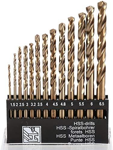 Kaheign 13 Piezas Hss Broca Helicoidal Conjunto, Métrica M35 Acero Al Cobalto Recubierto De Titanio Broca 1,5Mm A 6,5Mm Extremadamente Resistente Al Calor Broca Con Mango Recto Para Perforar