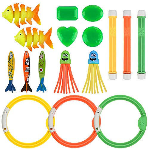 Anpro 16Stk Tauchen Spielzeug, 3 Tauchringe 3 Toypedo Bandits, 3 Tauchstöcke 3 Tauchfisch, 2 Funny Squid 2 Unter Wasserschätze,ideales Poolspielzeug Geschenkset im Sommer für Kinder