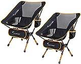 Chaise de Camping, Sportneer Lot de 2 Portable Léger Pliable Camping Chaise pour Backpacking/Randonnée/Pique-Nique/Pêche/Plage/Jardin (Charge de Poids 158kg)