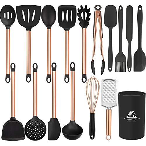 MIBOTE 19pcs Silicone Cooking Kitchen Utensils Set with Stainless Steel Handle and Holder, Bonus High Value Stainless Steel Measuring Spoons
