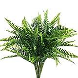 NAHUAA 4Pcs Helecho Artificial Arbusto Plantas de Plstico para Saln Mesa Patio Jardineria Jardin Valla Plantas Tropicales para Interior e Exterior