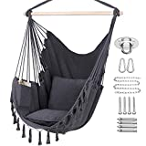 Y- STOP Hammock Chair Hanging Rope Swing, Max 330 Lbs, 2 Cushions Included-Large Macrame Hanging Chair with Pocket for Superior Comfort,Durability (Grey)