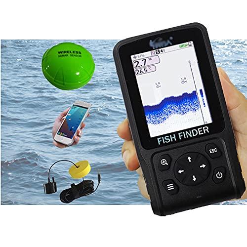 Hcyx Ecoscandaglio 3 in 1, Allarme ecoscandaglio in modalit Wireless/cablata/App, ecoscandaglio Portatile da Pesca Sonar LCD, per la Pesca in Lago, Fiume, Oceano e Ghiaccio