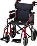 "NOVA Lightweight Transport Chair with Locking Hand Brakes, 12"" Rear Wheels, Removable & Flip Up Arms for Easy Transfer, Anti-Tippers Included, Red"