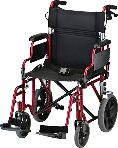 NOVA Lightweight Transport Chair with Locking Hand Brakes, 12 Rear Wheels, Removable & Flip Up Arms for Easy Transfer, Anti-Tippers Included, Red