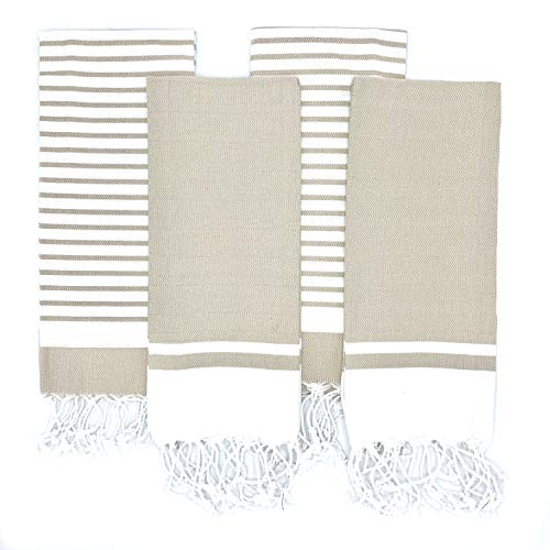 The Accented Co. Turkish Hand Towels, Set of 4 - Hand-Knotted Tassel Tea Towels - Turkish Cotton with Hanging Loop (29x17 inches)(Beige Tan Brown)