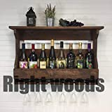 Right woods Jorden Wooden Wall Hanging Design Bar | Bar Cabinets for Home | Mini Bar for Home | Solid Wood Make Wine Storage Cabinet with Glass Hanging Space-Walnut Finish (Bar 6)