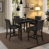 Harper & Bright Designs 5-Piece Kitchen Table Set Faux Marble Top Counter Height Dining Table Set with 4 Black Leather-Upholstered Chairs, Black (35' L x 35' W x 35.8' H)