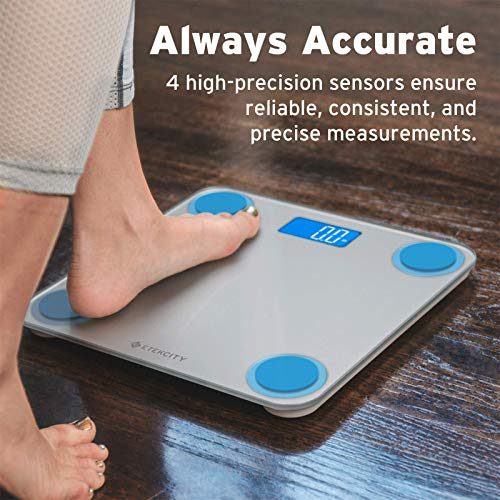 Etekcity Digital Body Weight Bathroom Scale with Body Tape Measure and Round Corner Design, Large Blue LCD Backlight Display, High Precision Measurements, 400 Pounds 3