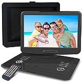 WONNIE Lecteur DVD Portable 15.5 Pouces, avec écran orientable sur 270 degrés, Batterie Rechargeable, Son stéréo, Toutes régions, Accepte USB/SD/AV in/Out