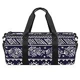 Bolsa deportiva de 45,72 cm, bolsa de viaje con compartimento de bolsillo húmedo para hombres y mujeres, ligera, retro, étnico, bohemio, floral