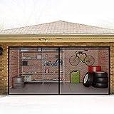 Magnetic Garage Door Screens 8x7 ft Double Single Door Mesh One Car with Hook and Loop Tape Durable Fiberglass Garage Screen Cover Kit Garage Door Curtain