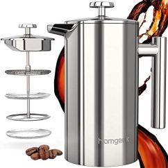 l, Kaffeebereiter Doppelwandig Isoliert 1 Liter (8 Tassen), Kaffeepresse mit 1 Extra Sieben, Kein Kaffeesatz,Silber