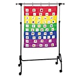 Easily display, organize and store materials of different sizes. Adjust both the width and height Holds both pocket charts and flip charts with included 5 hooks for hanging materials Features sturdy locking casters and easy assembly. Durable steel ch...