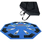 IDS Poker 48' Folding Blackjack Texas Holdem Octagon Poker Table Top Blue with Carrying Bag