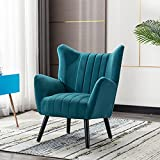 Modern Velvet Accent Chair, Wingback Armchair with Solid Rubber Legs, Comfy Upholstered Club Chair, Leisure Side Chair for Living Room and Bedroom (Green)