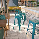 Flash Furniture Commercial Grade 30' High Backless Distressed Kelly Blue-Teal Metal Indoor-Outdoor Barstool