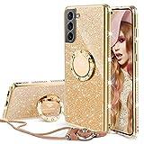 OCYCLONE Coque Samsung Galaxy S21, Housse de Protection pour Téléphone Portable à Paillettes avec Anneau pour Femmes Filles, Coque Souple Bling Diamond Strass pour Galaxy S21 6,2 Pouces