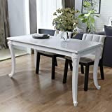 Tidyard High Gloss Dining Table, Rectangular Dining Table for Home Dining Room Kitchen Living Room White