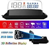"HUD Display Car OBD2, 5"" FHD 1080P Gauge Head Up Display 3D Reflection 6 Mode ECU Datas Display Oil Temperature Coolant Temperature Speedometer Odometer Fuel Consumption Engine RPM Fault Alarm"