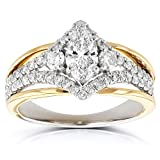 Kobelli Art Deco Marquise Diamond Engagement Ring 1 Carat (ctw) in 14k Two-tone Gold, Size 8.5