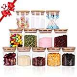 Tzerotone Glass Jars Set,Upgrade Spice Jars with Wood Airtight Lids and Labels, 6oz 12 Piece Small Food Storage Containers for Home Kitchen, Tea, Herbs, Sugar, Salt, Coffee, Flour, Herbs, Grains…