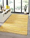 Rugs.com Chindi Cotton Collection Rug – 5' x 8' Yellow Flatweave Rug Perfect for Living Rooms, Large Dining Rooms, Open Floorplans