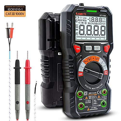 KAIWEETS Digital Multimeter mit LED-Buchsen, CAT III 1000 V, CAT IV 600 V True RMS Auto-Range 6000 Zähler, misst Spannung, Strom, Kapazität, Temperatur, Widerstand mit Display-Licht für Elektriker