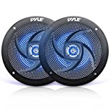 "Pyle Marine Waterproof Speakers 6.5"" - Low Profile Slim Style Wakeboard Tower and Weather Resistant Outdoor Audio Stereo Sound System with LED Lights and 240 Watt Power - 1 Pair in Black - PLMRS63BL"