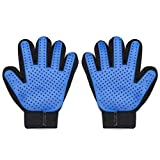 Pet Grooming Glove, Upgrade Version 2 Pack Pet Hair Remover Mitt Massage Deshedding Glove Brush with 259 Soft Silicone Tips for Dogs & Cats with Long & Short Fur (Blue)