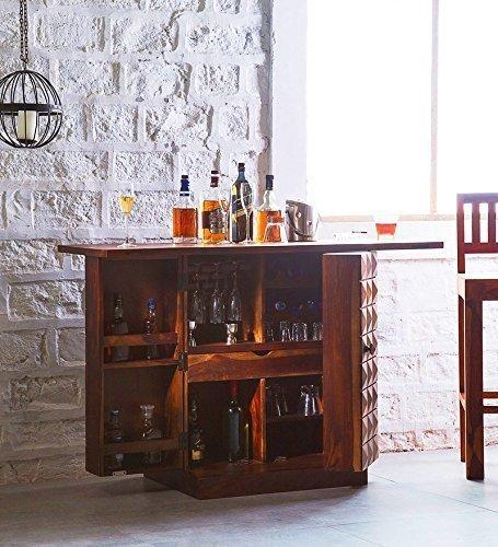 Mahima Handicarft Pre-Assemble Sheesham Wood Bar Cabinet for Living Room, Teak Finish