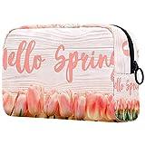 Neceser de viaje grande para mujer, neceser de viaje y neceser de maquillaje con muchos bolsillos, flor de tulipán de Hello Spring