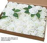 Amajoy Lot de 50 roses artificielles de couleur ivoire à l'aspect et au toucher...