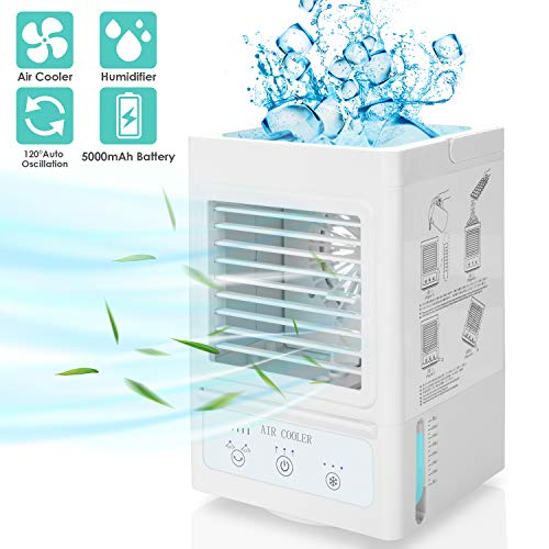 Portable Air Conditioner, 5000mAh Rechargeable Battery Operated 120Auto Oscillation Personal Mini Air Cooler with 3 Wind Speeds, 3 Cooling Levels, Perfect for Office Desk, Dorm, Bedroom and Outdoors