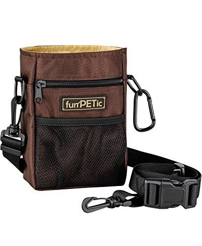 funPETic Futterbeutel für Hunde, Leckerlie Beutel - Futtertasche mit 4 Fächern & Tragevarianten, gratis Karabiner, Leckerlibeutel für Hundetraining, Leckerlitasche auch für Pferde