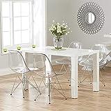 Lot de 4 Ghost Chaises en Polycarbonate + Acier pour Salle à Manger,...