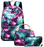 School Backpack Galaxy Teens Girls Boys Kids School Bags Bookbag with Laptop Sleeve (Galaxy Green-0033)