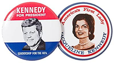 """1.5"""" diameter pins Replica pins from 1960 presidential campaign Receive set of 2 pins - JFK and Jackie Kennedy Kennedy pin: """"Kennedy for President / Leadership for the 60s"""" Jackie Kennedy pin: """"America's First Lady / Jacqueline Kennedy"""""""