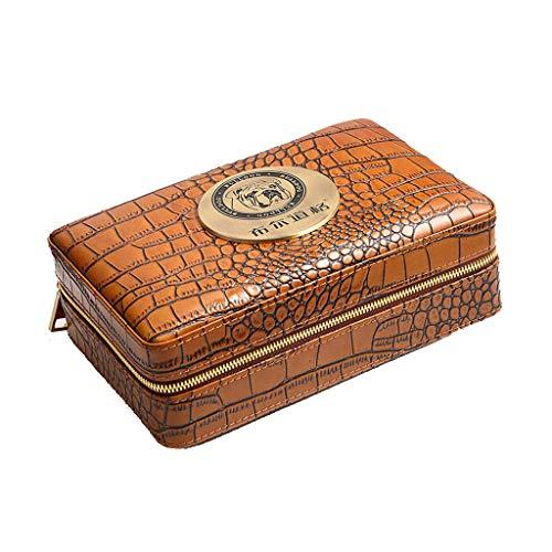 Ljf Boîte à cigares Tube de Cigare hydratant étui en Cuir de Cigare Voyage humidificateur Portable Feuille de Protection en Bois de cèdre (Color : Black, Size : 20.8 * 6.3 * 13.5CM)