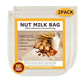 Nut Milk Bags, All Natural Cheesecloth Bags, 12'x12', 2 Pack, 100% Unbleached Cotton Cloth Bags for Cheese/Tea/Yogurt/Juice/Wine/Soup/Herbs, Durable Washable Reusable Almond Milk Strainer(Weave 65x52)