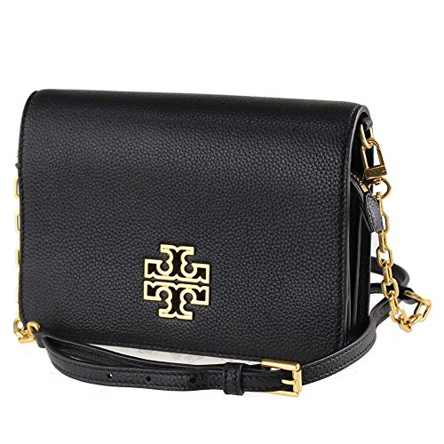 "51JGMdLkUHL Tory Burch pebbled leather crossbody with light golden hardware. Adjustable, removable crossbody strap with chain detail; 23"" drop. Flap top; magnetic double-snap closure. Double-T logo medallion."