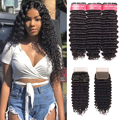 Beaudiva Hair Deep Wave Bundles with Closure20 22 24+18inch, 9A Brazilian Virgin Hair Deep Weave 100% Unprocessed Human Hair With 44 Free Part Lace Closure