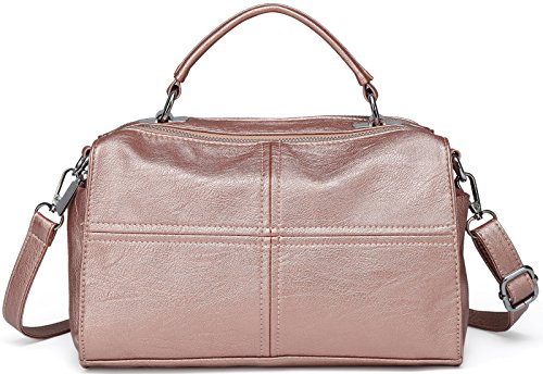 Crossbody Bags for Women,VASCHY Vegan Leather Top Handle Satchel Handbag Fashion Shoulder Bag Purse Rose Gold