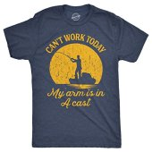 Mens Can't Work Today My Arm is in A Cast T-Shirt Funny Fishing Graphic Top Guys (Heather Navy) - L