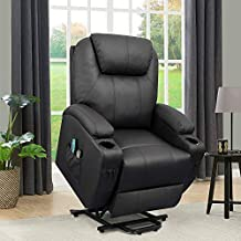 Flamaker Power Lift Recliner Chair PU Leather for Elderly with Massage and Heating..