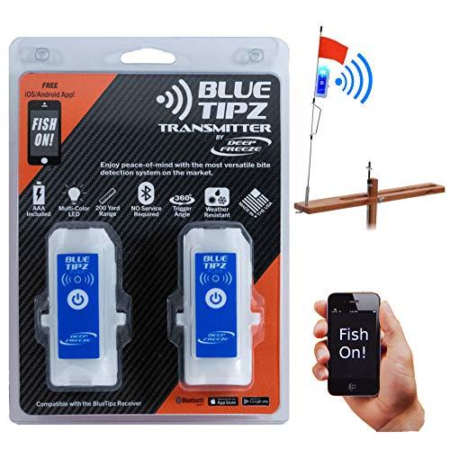Deep Freeze Ice Fishing Tip Up Alert Transmitter Light Blue Tooth + Smart Phone App Blue Tipz (2...
