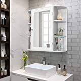 Casart Wall Mounted Bathroom Cabinet with Mirror, Single Door Medicine Cabinet with 4-Tier Inner...