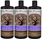 Dr. Woods Natural Raw African Black Moisturizing Liquid Castile Soap, 32 Ounce (Pack of 3)