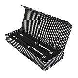 PROJECTS Set d'écriture en carbone en métal – Ensemble de luxe avec stylo à bille rotatif et bille à bille – Avec étui cadeau avec fermeture magnétique – Mines noires – Pour homme et femme